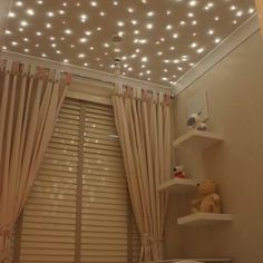 Star Ceiling - bad luck to the baby - I want this for my room! Every room in my house actually! My New Room, My Room, Star Lights On Ceiling, Ceiling Stars, Glitter Ceiling, Dark Ceiling, Ceiling Lights For Bedroom, Lights For Room, Nursery Decor