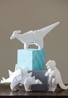 Dinosaur (porcelain) oragami for decor #pinparty