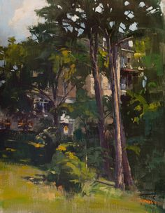 """The 1886 Crescent Hotel & Spa in Eureka Springs, Arkansas is stunning, but I was also drawn to the beauty of the trees leading up to the building. """"Trees At the Crescent"""" (oil on linen, 14""""x18"""") painted for the Eureka Springs Plein Air Festival. Painting photo by Kimberly at Saunders Fine Arts. #patricksaunders #patricksaundersfineart #patricksaundersfinearts #patsaunders #pleinairstreaming #saundersfinearts #eurekaspringsschoolofthearts #crescenthotel"""