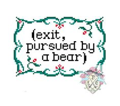 Hilarious---oh Winter's Tale. Exit, pursued by a bear. Shakespeare Cross Stitch Pattern on Etsy, $4.03