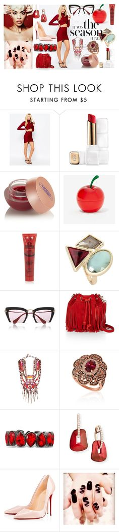 """""""Untitled #168"""" by semela-resuli ❤ liked on Polyvore featuring Missguided, Guerlain, Lipstick Queen, Tony Moly, Topshop, Miu Miu, Rebecca Minkoff, VICKISARGE, LE VIAN and Mattioli"""