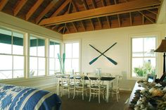 Beach House in NC. Oar crossed on wall in dining room.