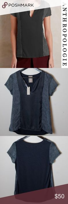 NWT Anthropologie Dolan Velvet Veneer Tee Grey New with tags Anthropologie Dolan Left Coast Collection Velvet Veneer Tee. Size small. Sold out. Semi sheer sleeves and side panels, polyester velvet front. Rayon-spandex jersey back. Vented hem. Side panels and sleeves have an animal like print, V-neck front, grey is a blue grey shade Anthropologie Tops Tees - Short Sleeve