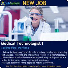 SEEKING A MEDICAL TECHNOLOGIST I IN TAKOMA PARK, MARYLAND #Job #NewJob #Jobs #Trending #JobOpportunity  #jobgallery #healthcare #healthcarejobs #medicaljobs #MarylandJobs #TakomaPark #Maryland