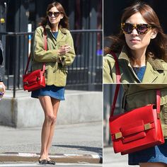 Alexa Chung Shows Off Her Effortless Cool-Girl Style Alexa Chung Street Style, Cool Girl Style, Lucky Girl, Red Bags, Tv Presenters, Katie Holmes, Get Dressed, Girl Fashion, Jackets