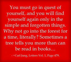 You must go in quest of yourself, and you will find yourself again only in the simple and forgotten things. Why not go into the forest for a time, literally? Sometimes a tree tells you more than can be read in books… ~Carl Jung, Letters Vol. 1, Page 479.
