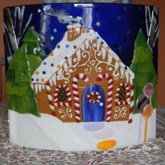 Gingerbread House Fused Glass by Firehorseglass on Etsy, $295.00. Lots of detail on this piece, well done!