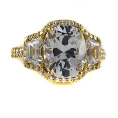 Jean Dousset 7.52ct Absolute Cushion Cut 3 Stone Frame Ring Size 7 Mother's Day #JeanDousset #EngagementRing