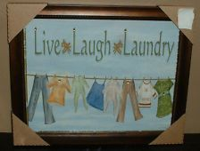 LAUNDRY FRAMED PICTURE~WALL PLAQUE~ART SIGN~WASH ROOM~BRONZE FRAME~LIVE LAUGH