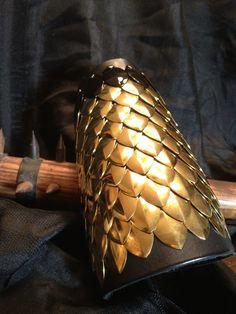 Brass Dragon Scale Bracer with Black Scale Trim by rowansoriginals