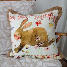 You Give Me Butterflies Cushion By Alex Clark - A Bentley Cushions Butterfly Cushion, You Give Me Butterflies, Clark Art, Traditional Artwork, Binky, Jute, Rabbit, Give It To Me, Cushions
