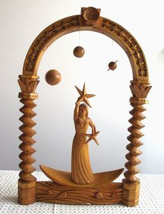 Art Wood Carved Queen of the WatersPine Wood by talesfromthewood, $245.00