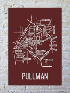 Pullman, Washington Street Map Print - School Street Posters