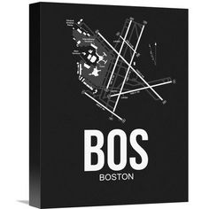 """Naxart 'BOS Boston Airport' Graphic Art on Wrapped Canvas Size: 16"""" H x 12"""" W x 1.5"""" D"""