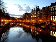 Canals of Amsterdam at night