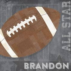 Football All Star by Vicky Barone Personalized Graphic Art on Canvas in Gray