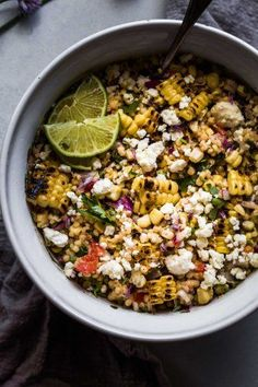 Mexican Street Corn Salad with Couscous puts a fun twist on elotes. Smoky grilled corn, a creamy cumin-lime dressing, and Israeli couscous combine to create this delicious salad. Corn Pasta Salad Recipe, Grilled Corn Salad, Corn Salad Recipes, Corn Salads, Vegetable Salads, Pearl Couscous Recipes, Pearl Couscous Salad, Israeli Couscous Salad, Couscous Salad Recipes