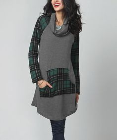 Look at this #zulilyfind! Charcoal & Green Plaid Convertible Tunic…