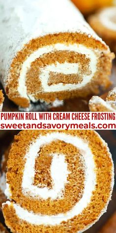 Pumpkin Roll is light, airy, and creamy, loaded with fall flavor and spices, and filled with cream cheese frosting. #pumpkinroll #pumpkin #fall #thanksgiving #dessert #sweetandsavorymeals