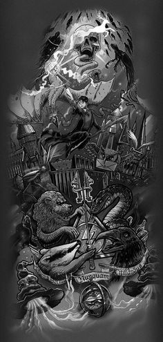 Check it out Potter Heads! Harry Potter theme tattoo design on Behance Harry Potter Tattoos, Harry Potter Tattoo Sleeve, Harry Tattoos, Décoration Harry Potter, Harry Potter Thema, Classe Harry Potter, Harry Potter Universal, Body Art Tattoos, Harry Harry