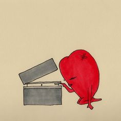 The Little Red Heart   Series   by somaramos    #thelittleredheart #love #lonely #alone #vinyl #records #music #listening #illustration #drawing #somaramos