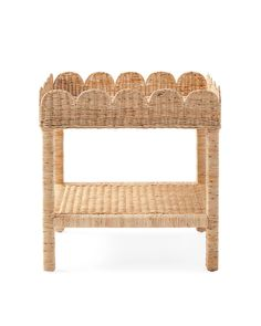 Wicker and a classic scalloped edge give this a timeless quality we love. It's also delightfully versatile. A side table, a nightstand, a hallway accent...We've designed this with thoughtful proportions to make it every bit as functional as it is charming. Try it anywhere you need a relaxed vibe, extra storage, or a simple spark of joy. Upholstered Furniture, Dining Furniture, Condo Furniture, Furniture Ideas, Bedroom Night Stands, Big Girl Rooms, New Wall, Scalloped Edge, Extra Storage