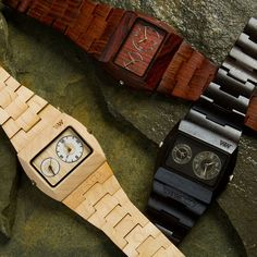 WeWood Jupiter Watch. Available in your choice of wood (Red Wing Celtis, Blackwood, Maple), this 100% natural wood watch is made from recycled wood scrapes and offers simplicity and accuracy with two Miyota movements.