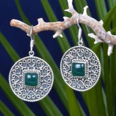 "925 FINE STERLING SILVER GREEN ONYX EXCLUSIVE EARRING 9.02g DJER3935 L-1.50""…"