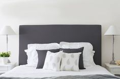 The understated simple style of our linen bedhead works perfectly in a contemporary or classic bedroom. lt is handmade to the highest craftsmanship and is available in natural or charcoal. The bedh. Hamptons Style Bedrooms, French Provincial Bedroom, Queen Bedroom, Master Bedroom, Bedroom Inspo, Bedroom Ideas, Buy Fabric, House Beds, Beautiful Bedrooms
