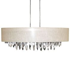 ALL-448C-PC-CRM | 8 Light Oval Chandelier with Cream Shade Polished Chrome Finish - ALL-448C-PC-CRM