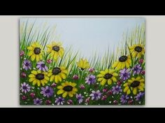 Acrylic Painting Black Eyed Susans Floral Painting Time Lapse Speed painting - YouTube