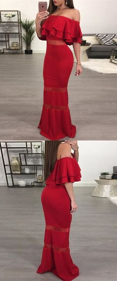 Mermaid Off-the-Shoulder Floor-Length Red Prom Dress with Ruffles 51764 #RosyProm #fashionpromdress #charmingpromgown #longpartydress #simpleeveningdress #offshoulderpromdress #redpromgown