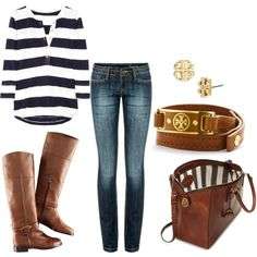 striped tee, jeans, short brown boots, brown bag, brown belt