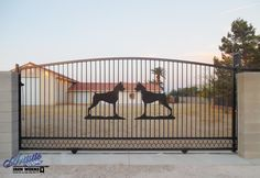 Creative alternative to 'Beware of Dog' sign, wrought iron rolling driveway gate Model: Gate Company, Wrought Iron Driveway Gates, Double Gate, Metal Fab, Beware Of Dog, Dog Signs, Horses, Alternative, Animals