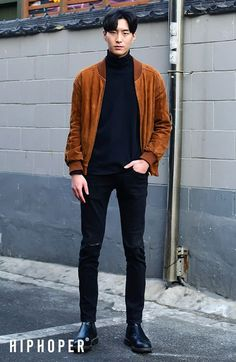 Tan/light brown bomber over black turtleneck, skinny jeans (as always), dressy shoes #koreanstreetfashion,