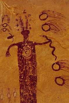 San Rafael Swell Utah rock art images, a stag horned figure is shown holding a snake in left hand, surrounded by swimming animals, and ring objects. Ancient Egyptian Art, Ancient Aliens, Egyptian Mythology, Egyptian Goddess, Ancient History, Ancient Greece, Paleolithic Art, Kunst Der Aborigines, Art Ancien