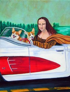 Mona Lisa in convertible with Pembroke Welsh Corgi's....Love it!   $16.50 on Etsy