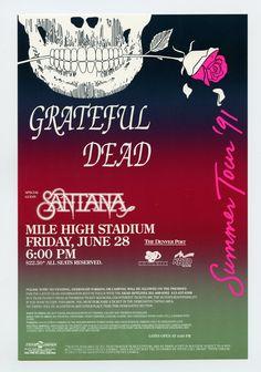 Grateful Dead Santana Summer Tour 91 Mile High Stadium Denver 1991 Jun 28 Handbill