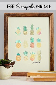 Free Vintage Inspired Pineapple Printable! Perfect wall decor for your kitchen or home. Download at livelaughrowe.com #pineapples #printable
