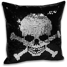 @Overstock - Use this skull and crossbones sequin pillow to complete the look of any pirate themed bedroom set. The pillow features a bold image that will be very noticeable. It is ideal for use in a boys or girls room thanks to the neutral colors.http://www.overstock.com/Home-Garden/Sequin-Skull-and-Crossbone-Decorative-Pillow/6206357/product.html?CID=214117 $30.99