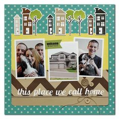 I love how Summer Fullerton paid tribute to her family and home here! And how cute are the houses and trees? She stamped them with the Happyville - Home and Happyville - Sunshine sets from TechniqueTuesday.com.