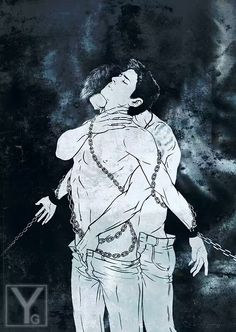 Dean/Castiel. Gorgeous fan art from tumblr.<<< you know the fanart misha saw? this was it...
