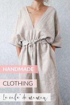 HANDMADE clothing for women! #handmadeclothingforwomen #summeroutfit #linendress #kimonodress #sewingideasforbeginners #summerwardrobe