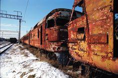 Trenes abandonados en Prypiat, Ucrania