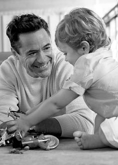 Robert Downey Jr. playing with his son, 2-year-old Exton. Vanity Fair, October…
