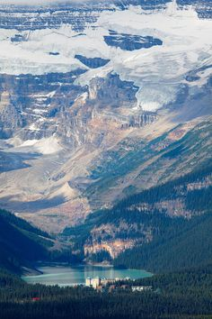✮ Lake Louise with the Victoria Glacier and Hotel, Alberta, Canada.