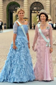 Princess Madeleine and Queen Silvia of Sweden at the wedding of Crown Princess Victoria