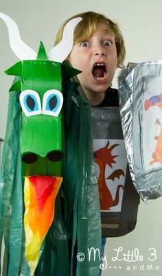 Dragon Hobby Horse - up-cycled craft from @Emma (My Little 3 and Me)
