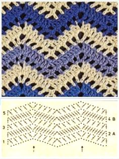 Diy Crafts - For all looking for beautiful crochet stitches with two colors, put together a wonderful collection of crochet stitches that Punto Zig Zag Crochet, Crochet Ripple, Crochet Motifs, Crochet Diagram, Crochet Stitches Patterns, Crochet Chart, Crochet Designs, Free Crochet, Stitch Patterns