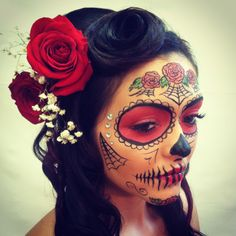 Sugar skull makeup - love the flowers and webs, goes good with hairstyle too